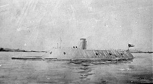 CSS Virginia, formerly the USS Merrimac, loser of the first battle of naval ironclads